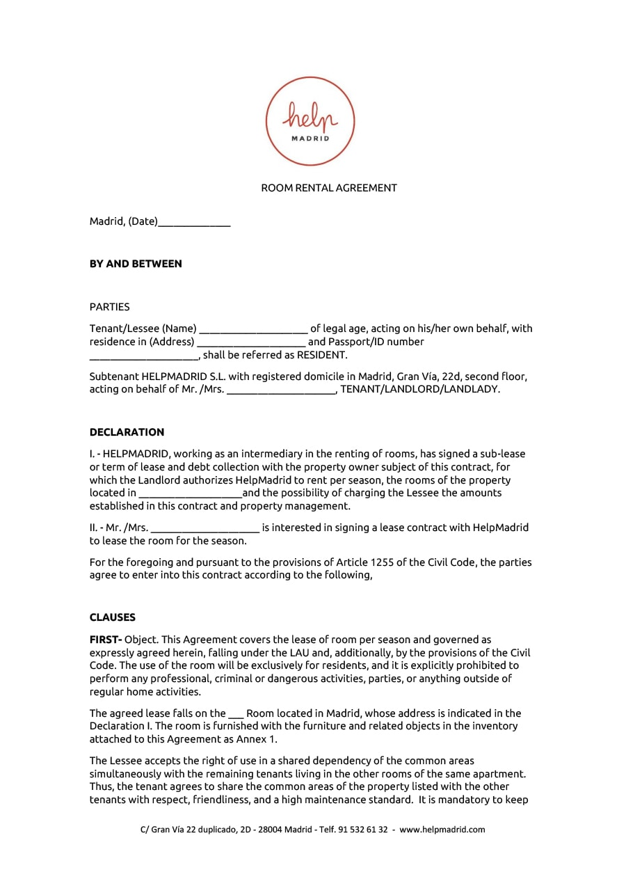 Room Rental Agreement 09  Free Rental Agreement Template