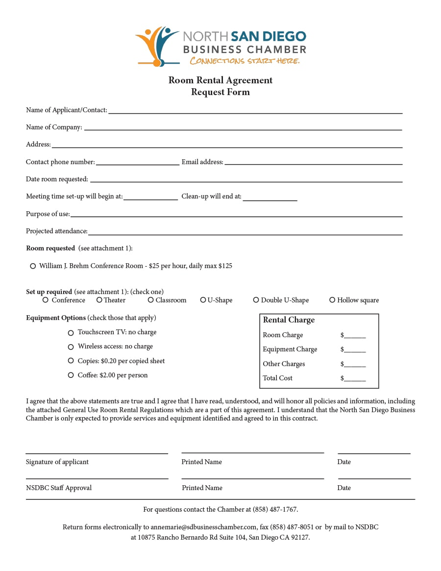 Simple Room Rental Agreement Templates  Template Archive