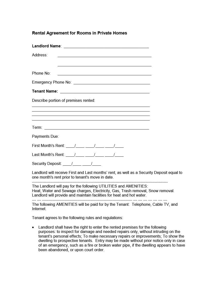 room rental agreement 15