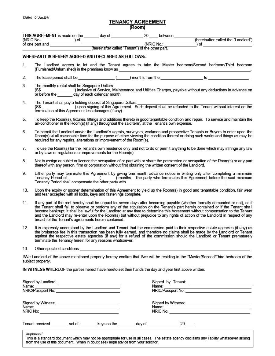 Simple Room Rental Agreement Template