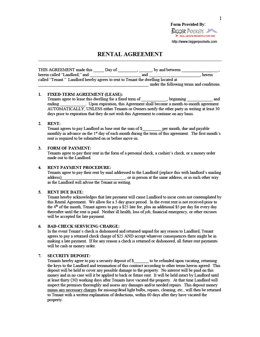 Landlord Tenant Contract Template Uk