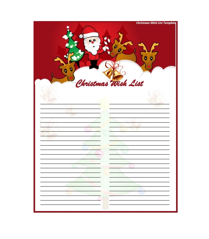 Wonderful Christmas Wish List Templates