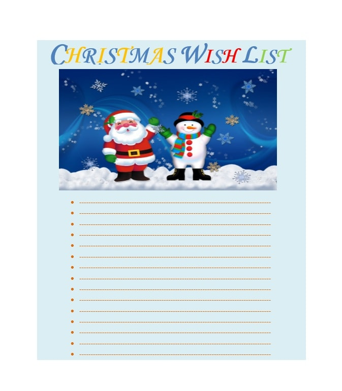 Exceptional Christmas Wish List Template 02