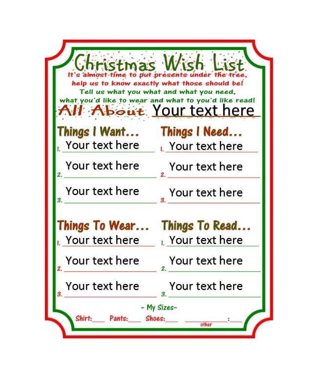 Christmas Wish List Template 25  Christmas Wish List Printable