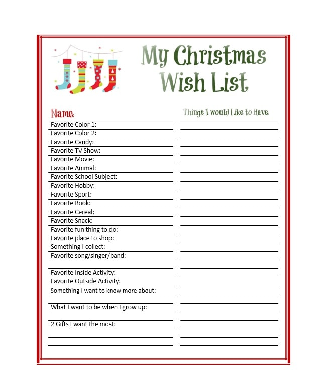 43 printable christmas wish list templates ideas template archive. Black Bedroom Furniture Sets. Home Design Ideas
