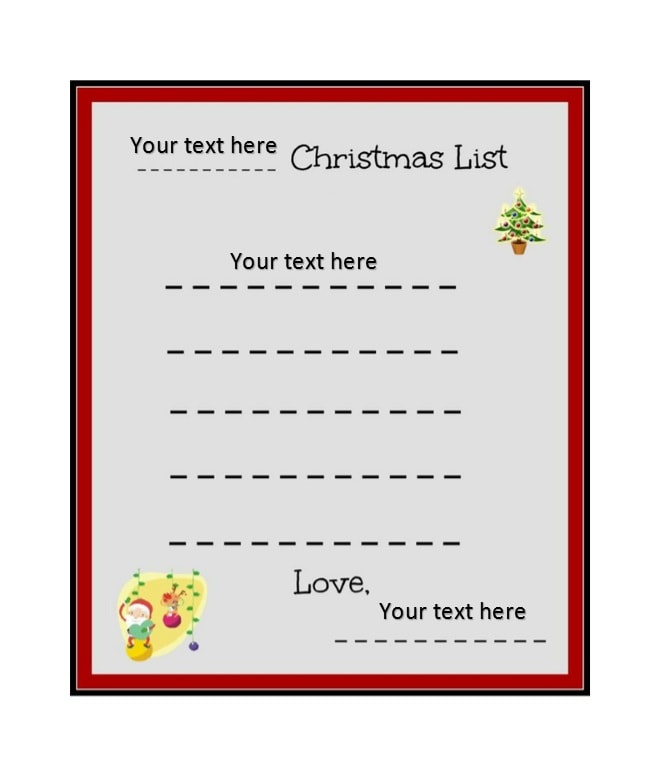 Printable Christmas Wish List Templates  Ideas  Template Archive