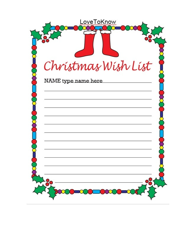 Christmas List Template.43 Printable Christmas Wish List Templates Ideas