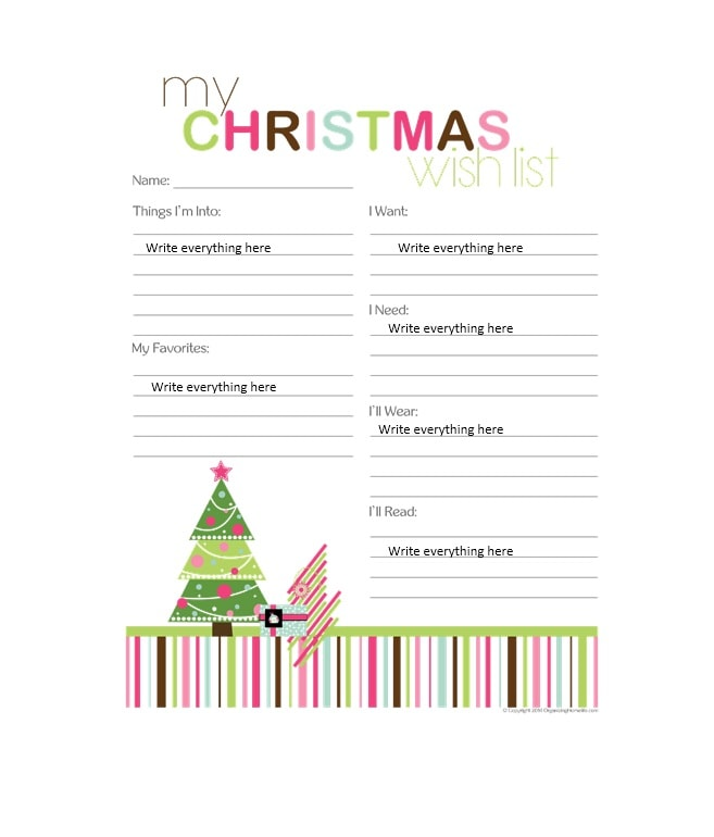 Christmas List Template.10 Christmas Wish List Templates Free Printable Word Pdf