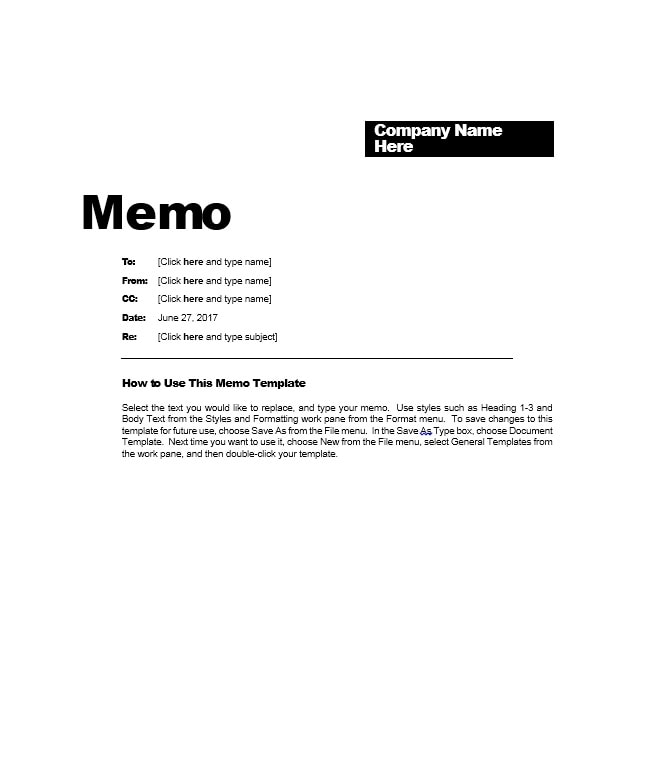 Business memo templates 40 memo format samples in word for Hr memo template