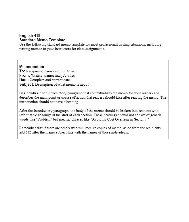 Business Memo Templates   Memo Format Samples In Word