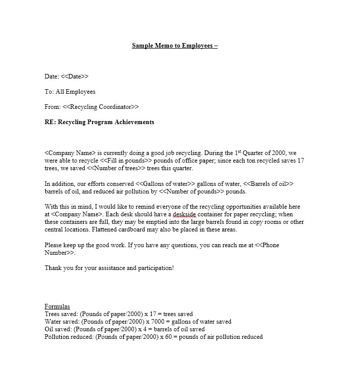 Employee Memo Templates | Business Memo Templates 40 Memo Format Samples In Word