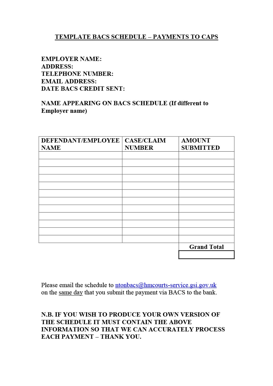 Payment Schedule Agreement Template