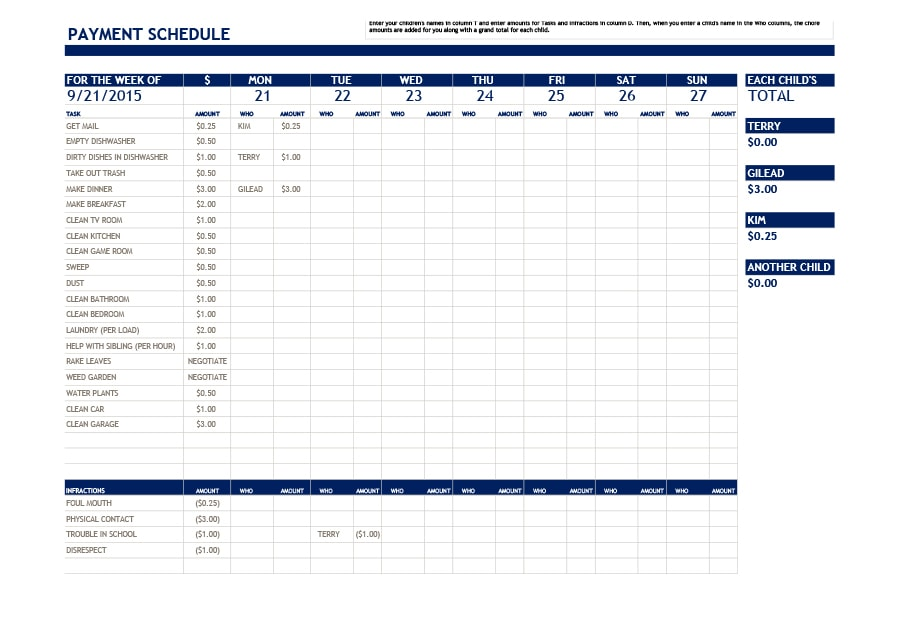 33 Great Payment Plan / Schedule Templates   Template Archive