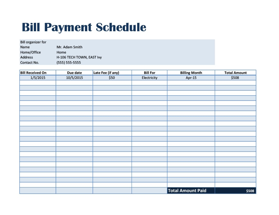 33 great payment plan schedule templates template archive for Car payment schedule template