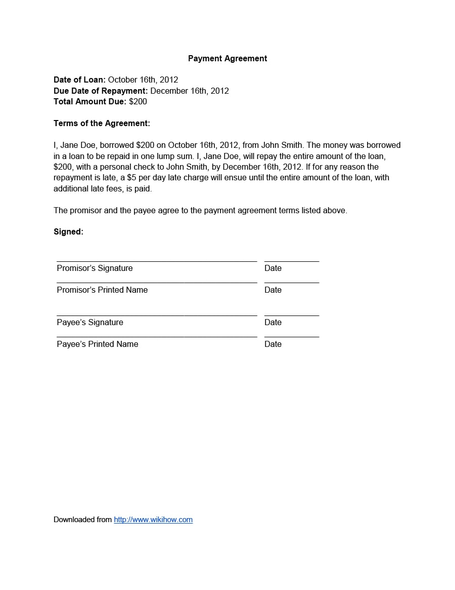 Sample Agreement Letter To Pay from templatearchive.com