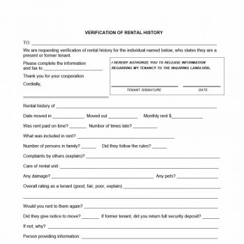 29 Rental Verification Forms For Landlord Or Tenant Template Archive