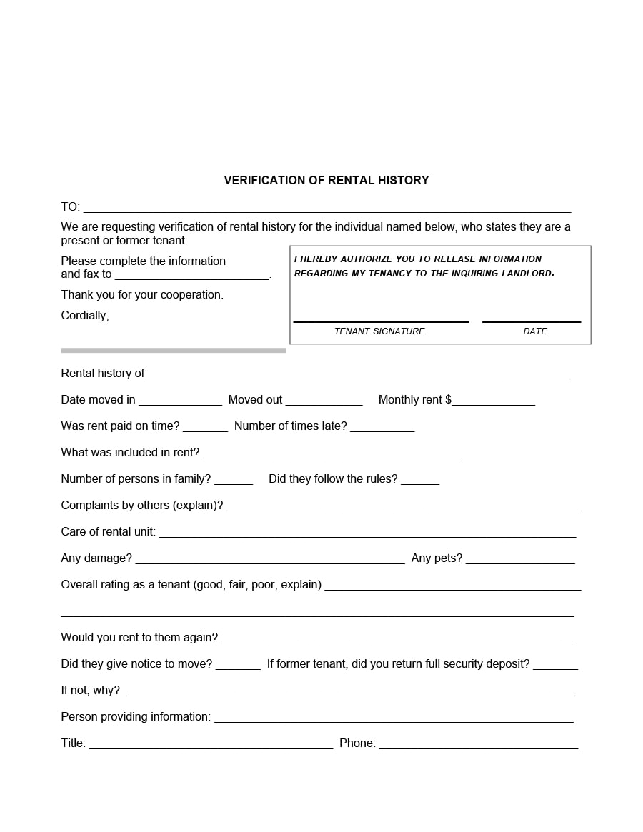 29 Rental Verification Forms For Landlord Or Tenant