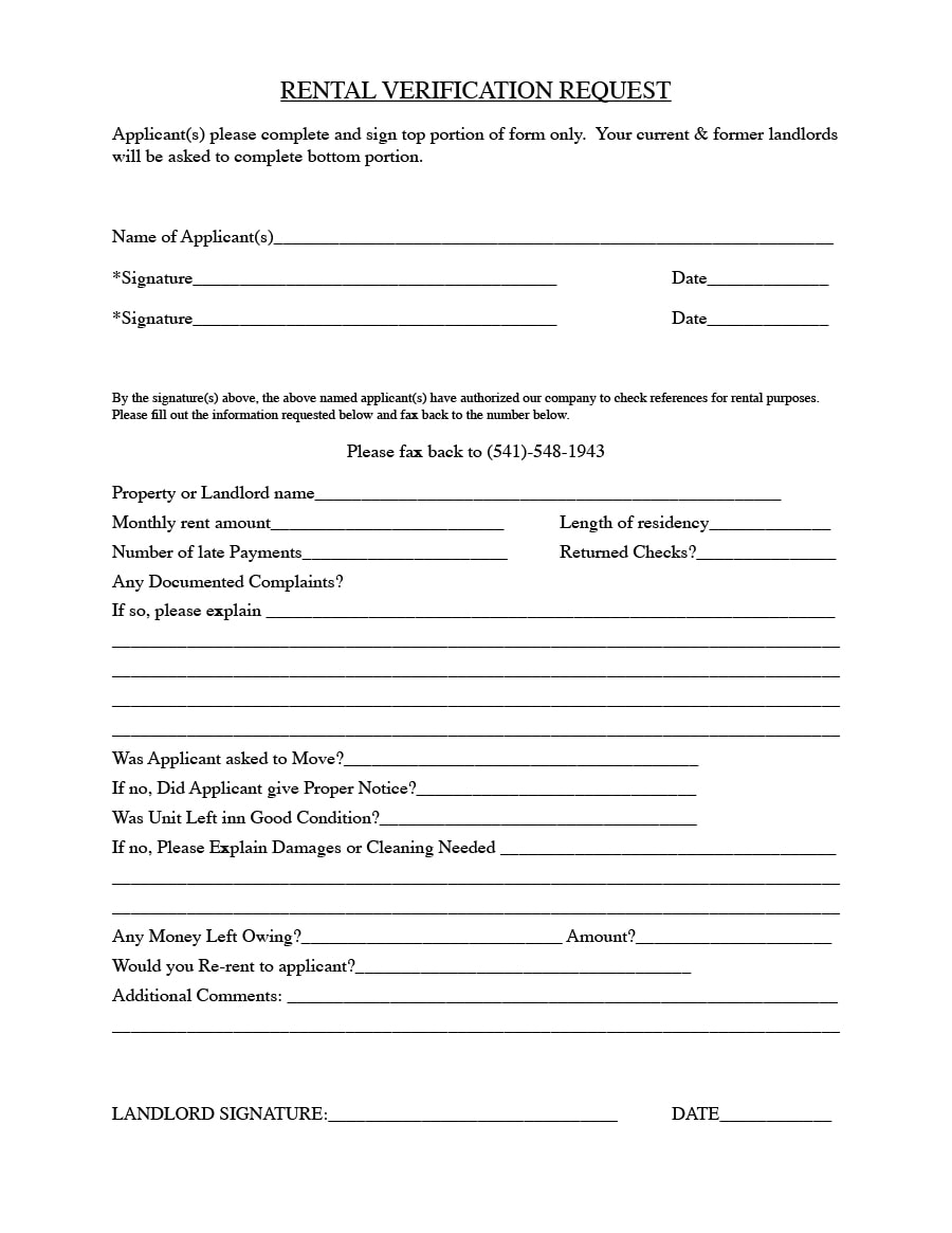 Rental Verification Form 02  Landlord Employment Verification Form