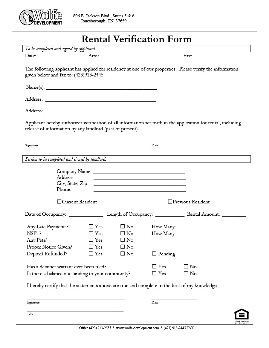 rent verification form 29 Rental Verification Forms (for Landlord or Tenant) - Template Archive