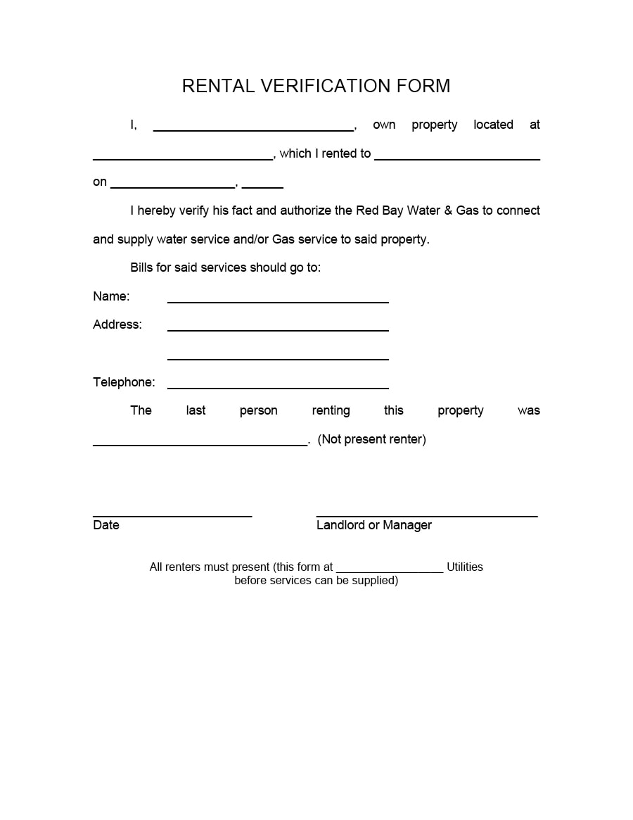 Delightful Rental Verification Form 08  Landlord Employment Verification Form