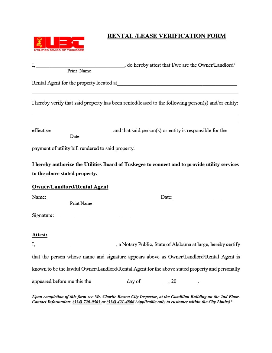 Rental Verification Form 13  Landlord Employment Verification Form