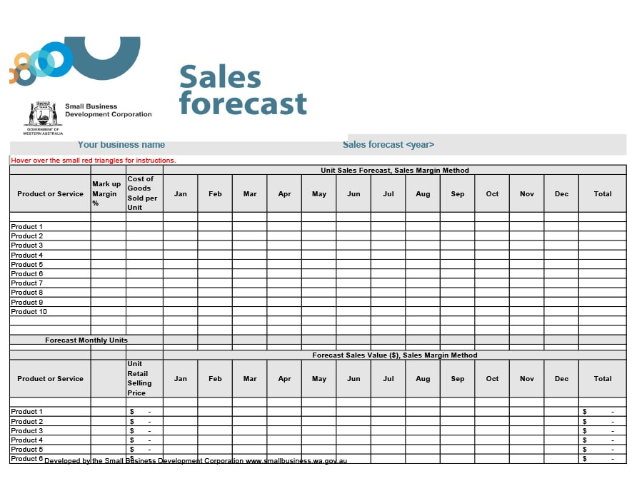 39 sales forecast templates spreadsheets template archive for Sales projection template free download