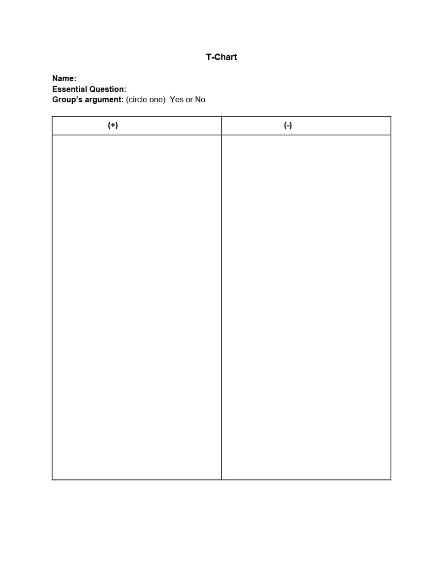 30 Printable T-Chart Templates & Examples - Template Archive
