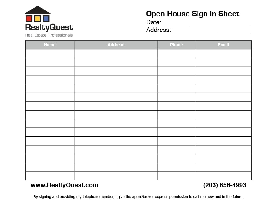 30 open house sign in sheet pdf word excel for real for Realtor open house sign in sheet template