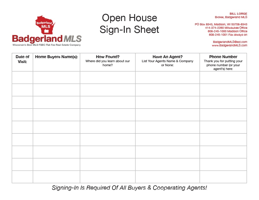 realtor open house sign in sheet