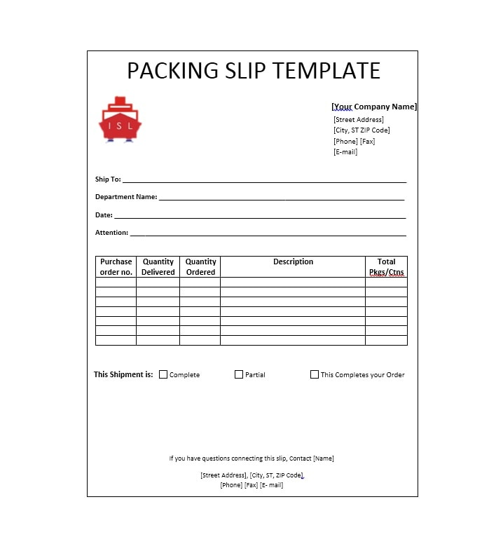 Free Packing Slip Templates Word Excel  Template Archive
