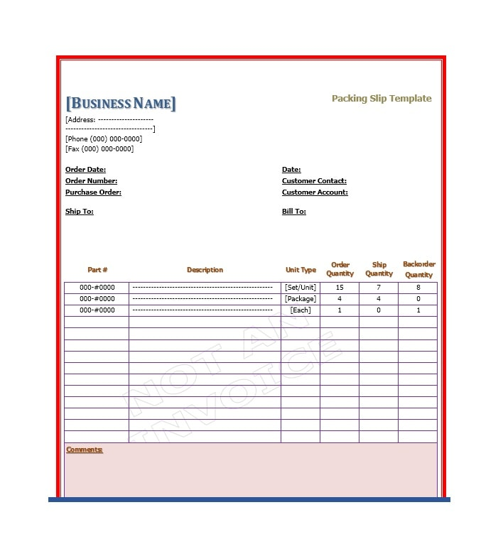 Packing Slip Template 05  Free Packing Slip Template