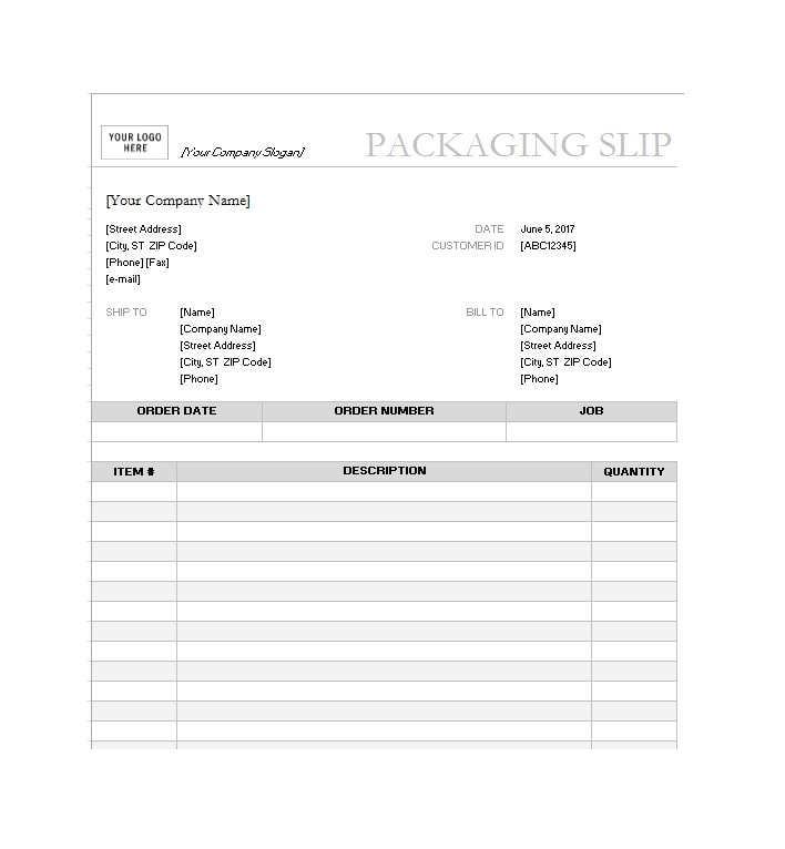Inventory Packing Slip Template  Packing Slip Format