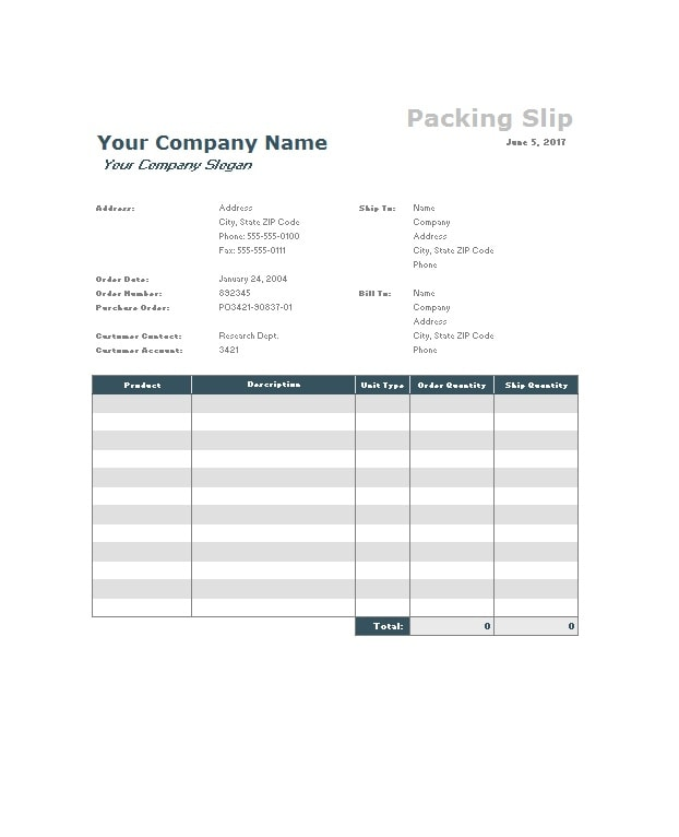 30 free packing slip templates word excel template archive