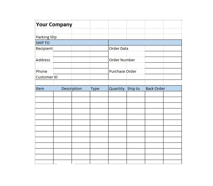 Free Packing Slip Templates Word Excel Template Archive - Shipping slip template