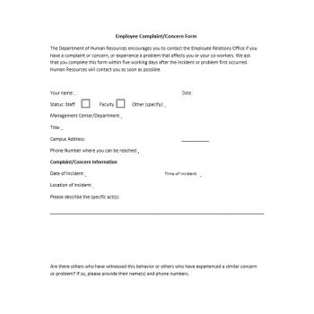 Employee Complaint Form Template 04