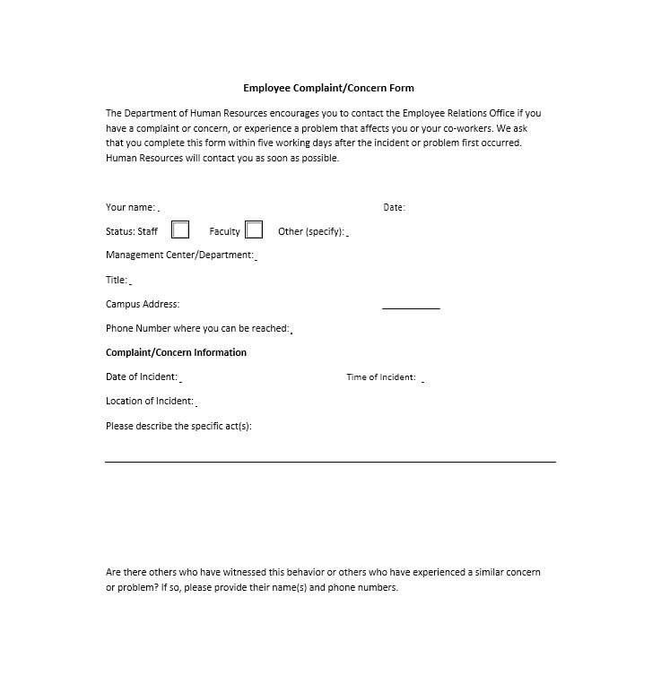 Employee Complaint Form Template 04
