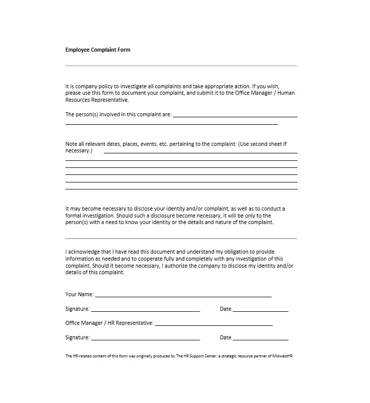 Employee Complaint Form Template 05  Customer Complaints Form Template