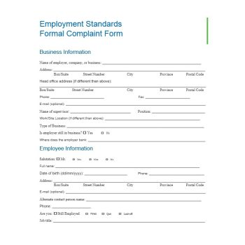Employee Complaint Form Template 07