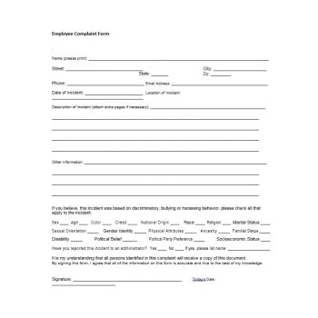 Employee Complaint Form Template 10