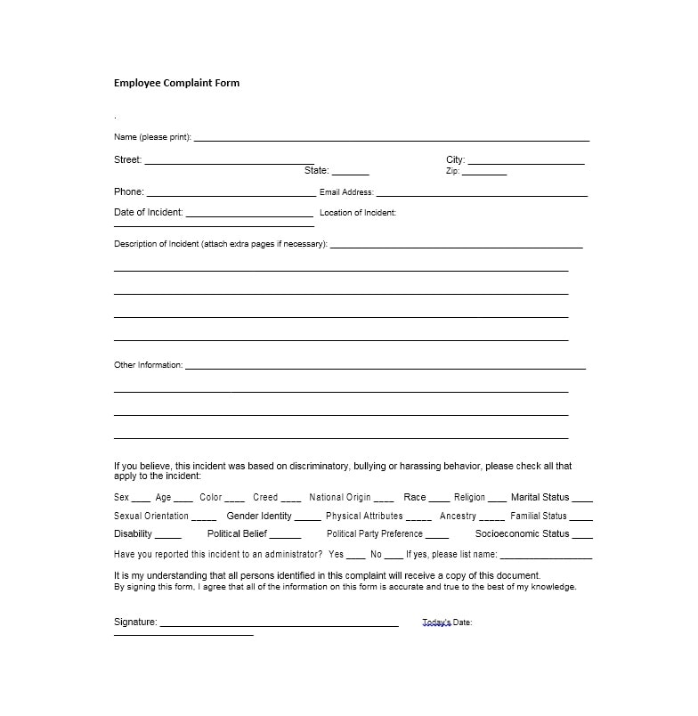 Employee Complaint Form  Letter Templates  Template Archive