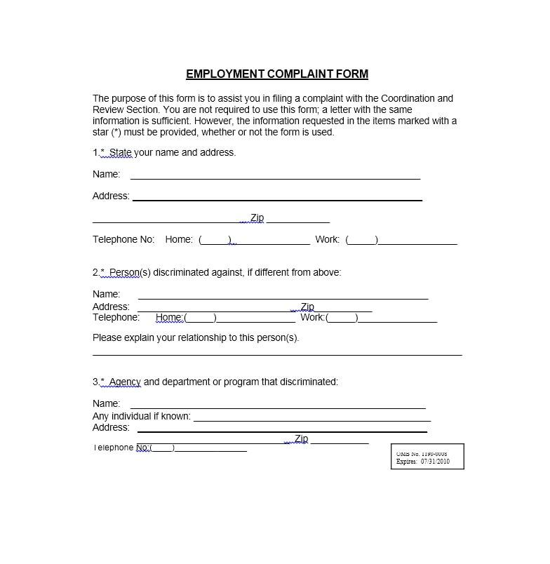 Employee Complaint Form Template 11