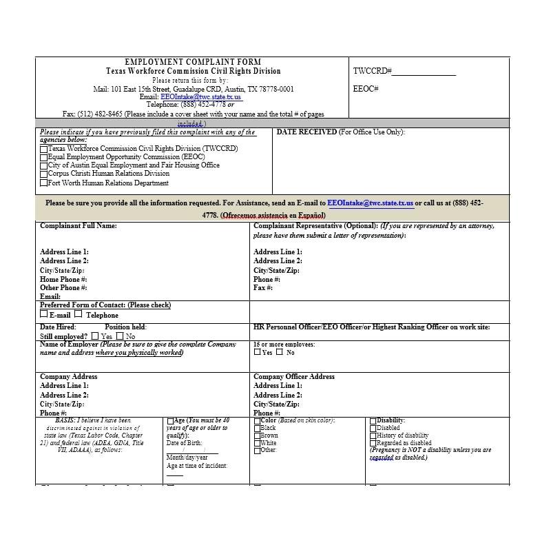49 Employee Complaint Form & Letter Templates - Template Archive