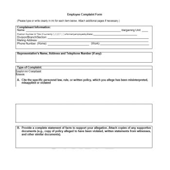 Employee Complaint Form Template 19