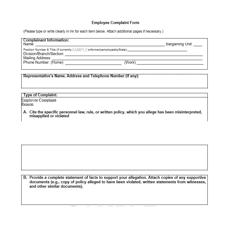 employee complaint form letter templates template archive - Employee Statement Form