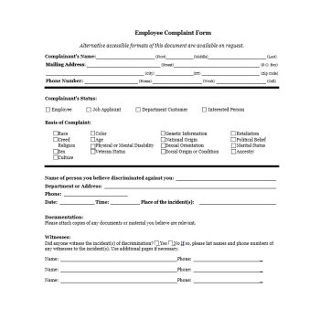 Employee Complaint Form Template 20