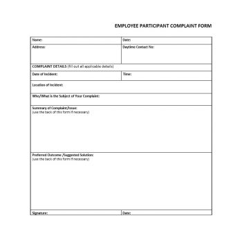 Employee Complaint Form Template 22