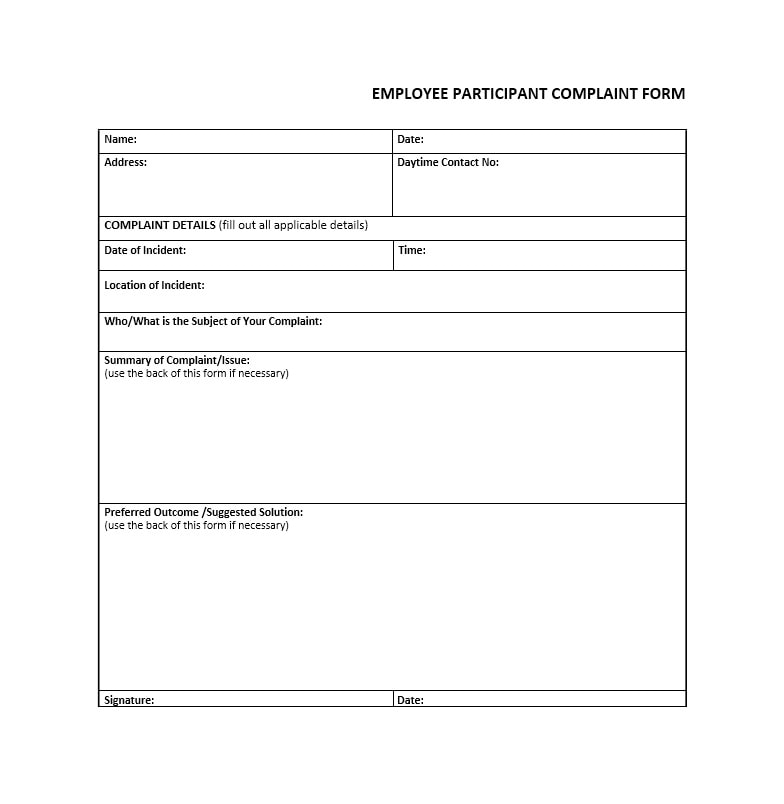 49 Employee Complaint Form & Letter Templates - Template Archive on sample contact information template, sample patient complaint form, sample transmittal form word document, sample employee complaint form, sample divorce agreement template, sample customer satisfaction survey template, sample cv resume template, sample lawsuit complaint, sample complaint letter about manager, sample fee schedule template, sample tenant complaint form, sample privacy policy template, sample feedback forms template, sample complaint letter against employee, sample legal complaint template, customer complaint trend reports template, complaint letter template, sample job description template word, sample accident report template, sample debt validation letter template,