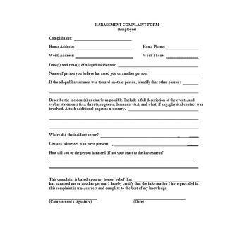 Employee Complaint Form Template 26