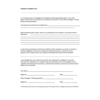 Employee Complaint Form Template 27