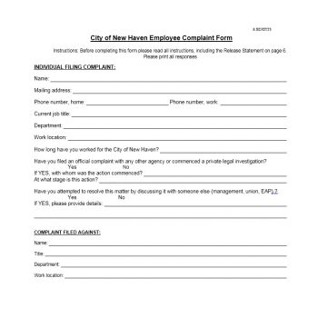 Employee Complaint Form Template 30